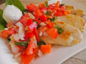 Chicken with Tomato, Basil and Goat Cheese