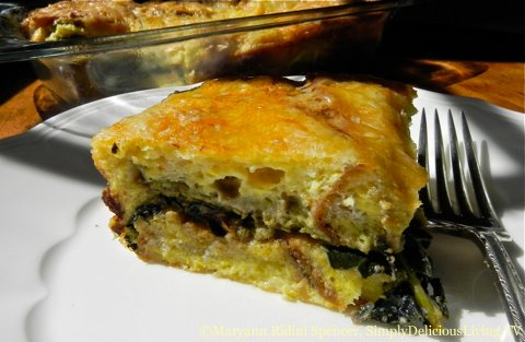 Kale, Spinach and Pesto Strata